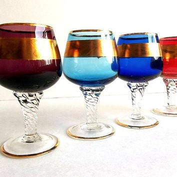 Vintage FOUR Bohemian Cordial Aperitif Liqueur glasses set, gold trim twisted stem Jewel color glasses