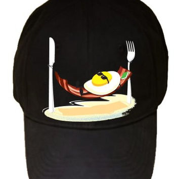 'Good Morning' Egg Sunny Side up Relaxing in Bacon Hammock - 100% Adjustable Cap Hat