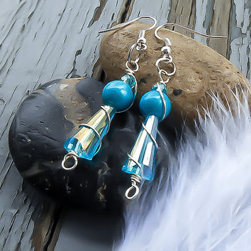 Final Fantasy Earrings - Final Fantasy Cosplay - Final Fantasy Costume - Final Fantasy Jewelry - Swarovski Crystal Earrings - Blue earrings