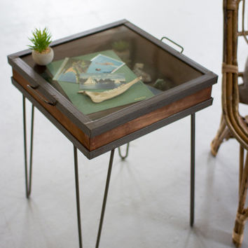 Recycled Wood & Iron Side Table with Mirror Top