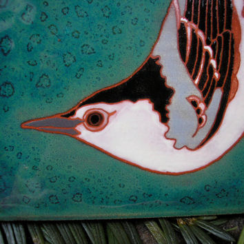 ON SALE Nuthatch tile for the bird lover great by meadowpoint