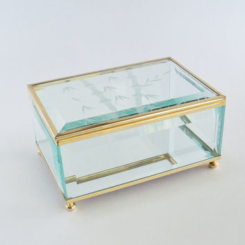 Frosted Bamboo Beveled Glass Jewelry Display Trinket Box