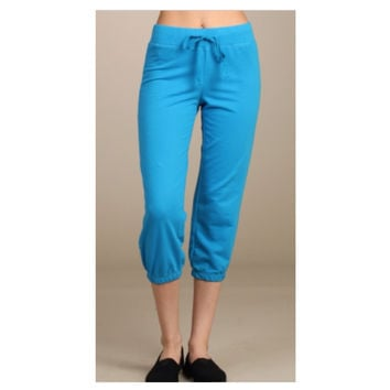 Cute Yoga Cropped Capri Turquoise Sweat Pants