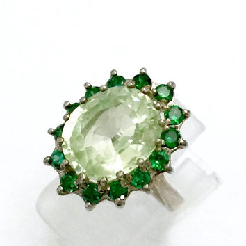 Peridot Sterling Silver Ring, Large Peridot Oval Center Stone, Emerald Round Accents, Cocktail Ring, Vintage Jewelry, Size 6 1/2