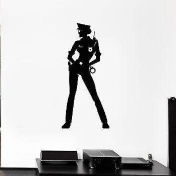 Wall Decal Police Girl Law Uniform Beautiful Handcuffs Vinyl Stickers Unique Gift (ed018)