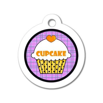 Orange Cupcake with Purple Pattern - Cute Pet Tag