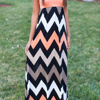 Long Maxi Tank Dress Sexy Summer Fashion Chevron Zig Zag Bohemian Women's Clothing