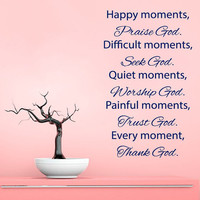 Family Wall Decal Quote Happy Moments Praise God Bible Verses Vinyl Stickers Bedroom Art Mural Living Room Decor Design Interior KY102