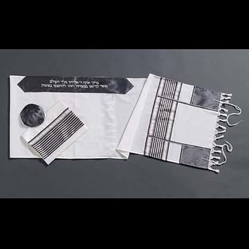Modern Wool Tallit Decorated With Gray Stripes