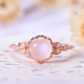 Moonstone engagement ring rose gold 14k/18k Bezel Set Retro vintage Marquise or 925 sterling silver with Man made CZ diamond art deco