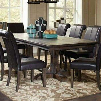 7 pc Weber collection smokey black textured wood finish dining table with double pedestal set