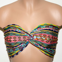 Aztec Tribal Twisted Bandeau, Tribal Swimwear Bikini Top, Spandex Bandeau Bikini