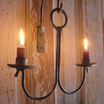 Hanging Iron Candle Holder Natural Steel Patina Blacksmith Handforged