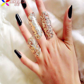 new 2015 women's ring set fashion vintage Designer gold silver cutout cross infinity flower metal lace rings Jeux de femmes