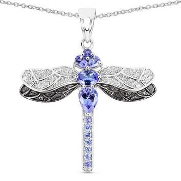 2TCW Natural Tanzanite and White Topaz Dragonfly Pendant Necklace