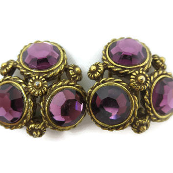 Amethyst Glass Earrings - Rhinestone Brass Costume Jewelry