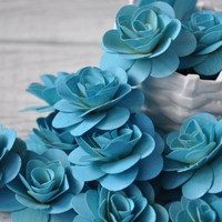 Wood Roses - Birch Wood Shavings Crafted Flowers - Sky Blue - 24 pc | AccentsandPetals - Wedding on ArtFire