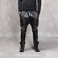 Drop Crotch Dark Quilted Leather Pants