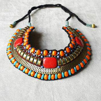 Tribal bib necklace - Tribal jewelry - Exotic jewelry - Ethnic jewelry - ethnic necklace - exotic necklace - statement jewelry