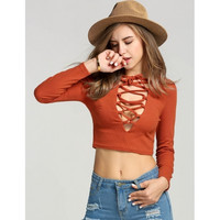 Fashion Women Lace Up V-neck Long Sleeve Solid Slim Crop Tops