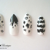 Fake Nail Set  - Black & White Pointy Stiletto Claw Nails with Nu Goth Hipster Stripes, Drips, and Crosses Print Pattern