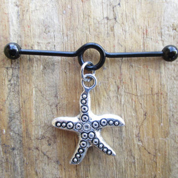 Starfish Industrial Barbell, Black Looped Industrial Barbell, Nautical Beach Cartilage Earring, Cartilage Dangle Barbell, 14 gauge Piercing