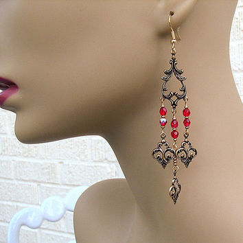 Vintage look chandelier earrings Romantic red beaded earrings Antique brass shoulder duster earrings Long earrings Beaded jewelry