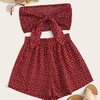 Confetti Heart Print Tie Front Shirred Tube Top With Shorts