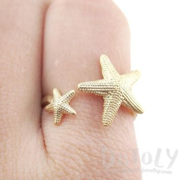Ocean Inspired Starfish Shaped Open Adjustable Ring in Gold | DOTOLY