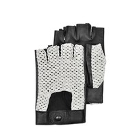 Forzieri Designer Men's Gloves Black Leather and Cotton Men's Driving Gloves