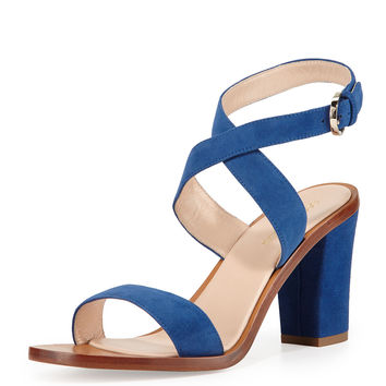 Strappy Suede Sandal, Cobalt - Sergio Rossi