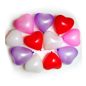 6 inch heart balloons in pink, red or white for weddings, birthdays or valentines
