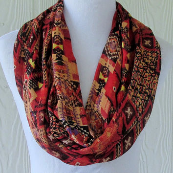Rust Tribal Print Infinity Scarf, Women's Scarf , Circle Scarf, Loop Scarf, Necklace Scarf, Scarves, Eclectasie