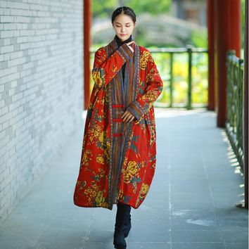 Johnature Winter Parka Women Jacket Coat 2017 New Vintage Robe Long Sleeve High Quality Warm Women Clothing Thick Print Coat