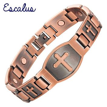 Escalu Men Cross Pattern Antique Copper Magnetic Bracelet Christian Fashion Bangle Jewelry Jesus Christ Wristband Charm