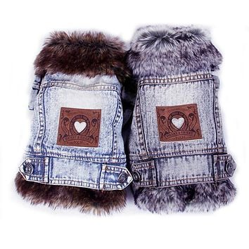 TianChong Denim Dog Clothes Winter Fur Collar Dog Coat Thick Warm Pet Clothes Jeans Coat for Small Pets Cat and Dog