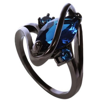 Hot Fashion Luxury Vintage Black Gold Blue Sapphire Zircon CZ Diamond Oval Crossed Rings For Women Wedding Jewelry bague Of R117