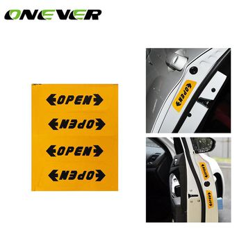 Reflective Automotive Interior Warning mark Stickers CarStyling Open Sticker Door Open  Safety Auto Decor 4pcs
