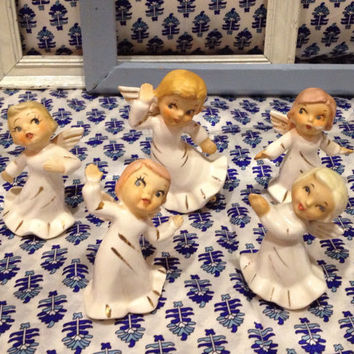 Vintage porcelain hand painted Angels with wings    gold accents  Made in Japan   1950's set of 5 dancing Angels/Cherubs