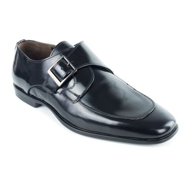 Bruno Magli Mens Single Monk Strap Black Oxfords Shoes