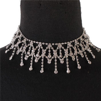 "12"" silver crystal choker collar necklace prom bridal pageant 1.80"" wide"
