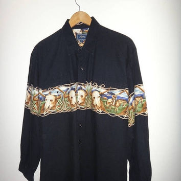 On Sale 25% Off Rare ROPER Western Shirt Cowboy Pearl Snap Button XL Vintage Horses Steer Skull Print Long Sleeve