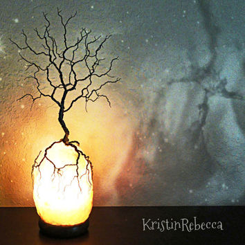 Wire Tree of Life Tree Sculpture Himalayan Salt Lamp Tree Lamp Lighted Tree Sculpture