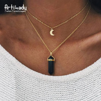 Artilady natural black agate moon choker necklace fashion gold plated amethyst turquoise crystal pendant necklace for women 11
