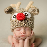 Cartoon Deer Newborn Infant Baby Knit Crochet Hat Photography Prop Costume Cap Beanie XDT57 (Size: 6-9m, Color: Brown) [8321371271]