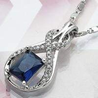 Rhodium Plated Women Infinite Fancy Necklace, with Sapphire Blue Cubic Zirconia, by Folks Jewelry