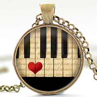Piano Necklace, Classical Music Charm, Piano Jewelry, Piano Love Pendant (1887)