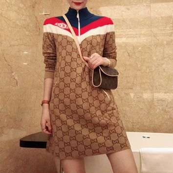 """Gucci"" Women Fashion Retro Multicolor Stripe GG Letter Zip Turtleneck Long Sleeve Dress"