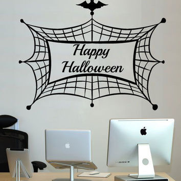 Spiderweb Wall Decal Happy Halloween Decoration Holidays Vinyl Stickers SM205