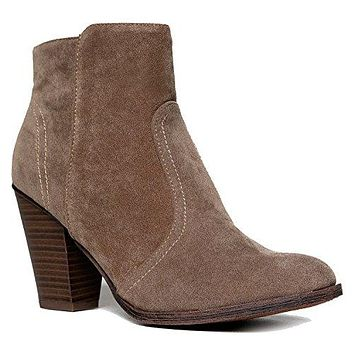 Women's Heathet-34 Faux Suede Chunky Heel Ankle Booties